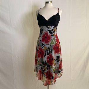 SCARLETT | Braid-strap black and red floral dress